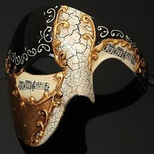 Black Musical Masquerade Ball Mask Mardi Gras Mens Halloween Classic Mask