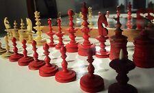 25 Bein Figuren  Schachspiel Schach  1860 Historisches Schach Biedermeier Orig.