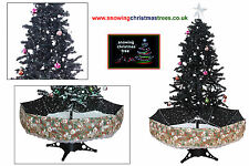 Snowing Christmas Tree 1.7 M | Black Umbrella Base | Beautiful Patterned Skirt