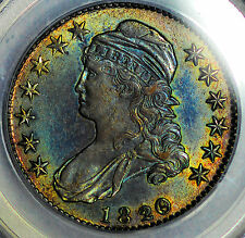 1820/19 50C Capped Bust Curl 2 Half Dollar Incredible Toning Toned & Date-Over