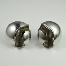 SPACE AGE 1970s Sterling Silver Earrings Modernist Mid Century Retro Dome R3656