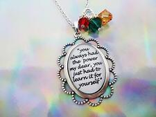 WIZARD OF OZ GLINDA QUOTE YOU ALWAYS HAD THE POWER CAMEO & CRYSTALS NECKLACE