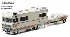 1:64 GreenLight *HITCH & TOW* 1973 Winnebago RV Camper w/BOAT & TRAILER Set NIB