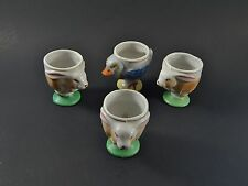 Three Rare Vintage Bunny Rabbit Egg Cups Together With A Chicken Egg Cup JAPAN