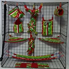 Lights and Ribbons *15 PC Sugar Glider Cage set * Rat * double layer Fleece