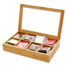 Natural Bamboo Tea Box Storage Caddy Organiser 8 Compartments