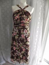 Women's Jones Wear Brown/Pink/Green Floral Empire Waist Halter Sleeveless Dress