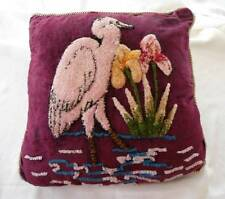 Vintage Pink Flamingo Tufted Chenille Embroidered Throw Toss Pillow Red Velvet