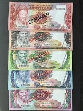 Swaziland 1 2 5 10 20 Emalangeni Set of 5 Specimen Notes Matching Numbers UNC