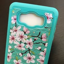 Samsung Galaxy J7 2016 HYBRID HARD & SOFT DIAMOND BLING CASE COVER TEAL FLOWERS