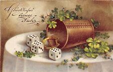 BG8643 dice clover  neujahr  new year greetings germany