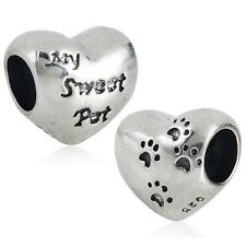 MY SWEET PET HEART CAT DOG 925 sterling silver charm bead fits european bracelet