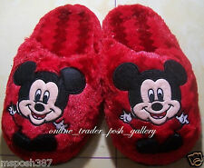 MICKEY MOUSE RED ADULT PLUSH BED SLIPPERS NEW