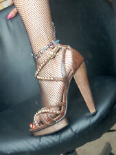 NEW LOOK women  brown strappy high heels sandals with studs & ankle straps  5 Uk