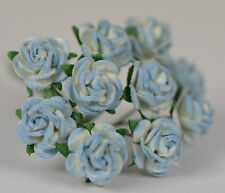 50 2 tone BABY BLUE Rose (1cm) Mulberry Paper Flowers wedding & miniature