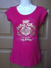 NWT NEW GUESS JEANS TOP SMALL HOT PINK RHINESTONES & CROWN