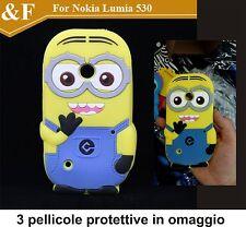 CUSTODIA COVER CASE NOKIA LUMIA 530 CARTOON SILICONE 3D minion + 3 pellicole