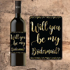 BRIDESMAID WINE BOTTLE Label, Will You Be My Bridesmaid Gift Wine Label