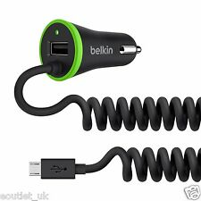 Belkin Phone Charger Coiled Micro USB Cable - 3.4 Andoird Car Charger, Black