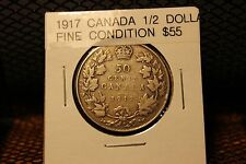 Better Date 1917 CANADA 1/2 DOLLAR,GEORGE V, SILVER