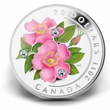 2011 $20 Canada Proof Fine Silver Coin - Wild Rose With Swarovski Crystal