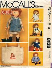 """1980's VTG McCall's Annie Doll Clothes,Shoes&Tote Bag w/Tr Pattern 8132 Size 36"""""""