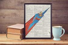 Retro Superman Antique Upcycled Recycled Vintage Dictionary Page Art Print A4