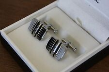MONTBLANC CLASSIC BLACK & WHITE RECTANGLE CUFFLINKS - NEW! 102986