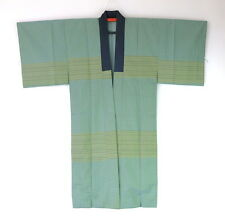 Vintage Japanese Men's Juban Inner Kimono Green Border J91