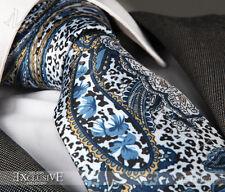 Nouveau design italien bleu & or paisley cravate en soie