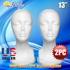 "13"" STYROFOAM FOAM MANNEQUIN MANIKIN head display wig hat glasses 2PC"