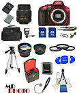 Nikon D5300 Digital SLR Camera Red +3 Lens: 18-55mm VR Lens + 32GB Bundle​ NEW