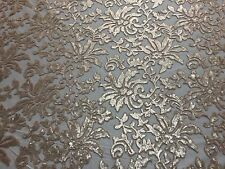 Beyonce Floral Apparel Sequence Lace Fabric - Beige - By The Yard - 56""