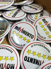10 Buttons Spille Pins 37 mm con personalizzazione a colori Movimento 5 stelle