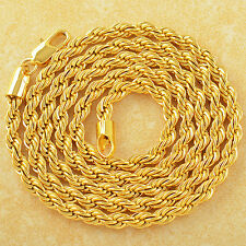 Mens 24k Gold Filled Rope chain Necklace Stainless Steel Long Necklace 24""