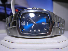 """Mens Relic Big Substantial Midnight Blue Dial Date Watch ZR77060 Fits 7.5"""" Wrist"""
