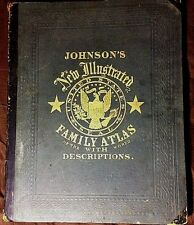 Rare Antique Book Johnson's New Illustrated Family Atlas 1866 Complete ALL Maps
