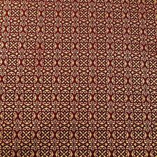 Rich Elizabethan Repeat, Metallic Gold on Burgundy Red, Cotton Fabric, Per FQ