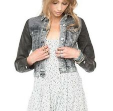 Brandy melville faux leather sleeve mineral wash crop denim jean Jacket XS/S