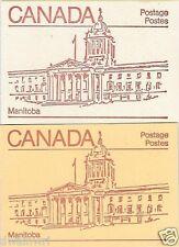 Canada 1983 - 50¢ Maple Leaf Booklets #BK84 Cream & BK84c Orange - Manitoba