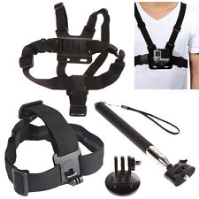 3in1 Harness Chest Head Mount Handle Monopod Pole For GoPro 2 3 4 Session Camera