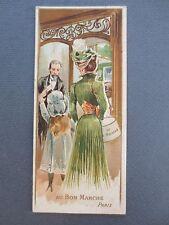 Antique BOOKMARK Au Bon Marche Paris Cut Out Edwardian Lady Shopping Store 1900s