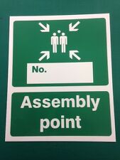 Fire assembly point with box sign 250 x 300mm Plastic 1mm NEW STYLE