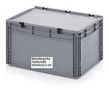 Kunststoff Stapel Behälter mit Scharnierdeckel 60x40x33,5 Transport Boxen Kisten
