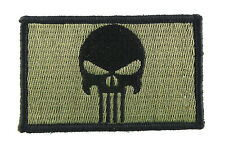 Punisher Green & Black Tactical Hook & Loop Fully Embroidered Morale Tags Patch