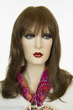 Mix Dark Brown + Auburn Long Medium Human Hair Monofilament Hand Tied Wigs