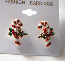 Candy Cane w Holly Bow Post Earrings / Gold-tone w Clear Crystal Accents