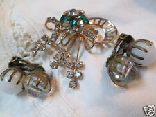 Vintage Austria Crystal Brass Rhinestone Brooch Milk-glass Earrings Jewelry Lot