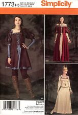 Simplicity Sewing Pattern 1773 Women's 6-14 Medieval Costume Dress Renaissance