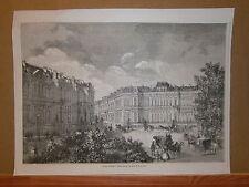 Gravure 19° Architecture projets d'hotels à élever parc de Monceaux Paris